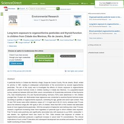 Environmental Research Volume 117, August 2012, Long term exposure to organochlorine pesticides and thyroid function in children