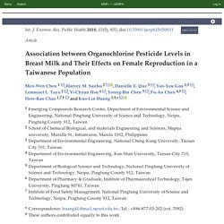 Int. J. Environ. Res. Public Health 2018, 15(5), 931; Association between Organochlorine Pesticide Levels in Breast Milk and Their Effects on Female Reproduction in a Taiwanese Population