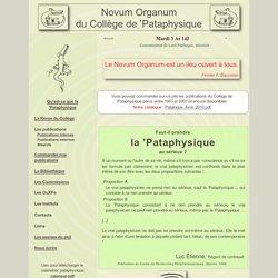 Novum Organum du Collège de 'Pataphysique