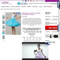 Organzowa sukienka na wesele / studniówkę z koronką - Sklep internetowy Lejdi-Sklep.pl