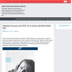 ORIANA FALLACI LETTER TO A CHILD NEVER BORN PDF