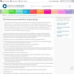 Orientaciones para planificar el aprendizaje - Currículum en línea. MINEDUC. Gobierno de Chile.