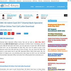 OBC SO Admit Card