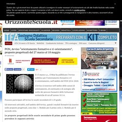 """PON, Avviso """"orientamento formativo e ri-orientamento"""", proposte progettuali dal 27 marzo al 18 maggio – Orizzonte Scuola"""
