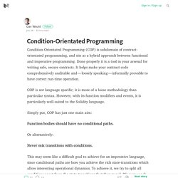 Condition-Orientated Programming