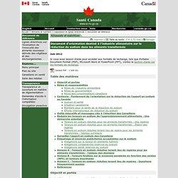 SANTE CANADA - JUIN 2012 - Document d'orientation destiné à l'industrie alimentaire sur la réduction du sodium dans les aliments