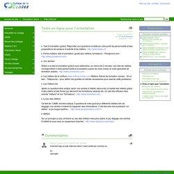 Tests en ligne pour l'orientation - COLLEGE DE LA DOMBES