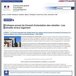 Colloque annuel du Conseil d'orientation des retraites : Les retraités et leur logement