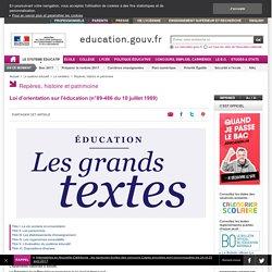 Loi d'orientation sur l'éducation (n°89-486 du 10 juillet 1989)