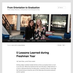 5 Lessons Learned during Freshman Year