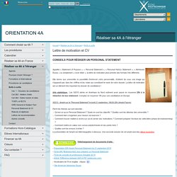 orientation 4 A - Lettre de motivation et CV