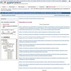 Loi Peillon n°2013-595 du 8 juillet 2013 d'orientation et de programmation pour la refondation de l'école de la République