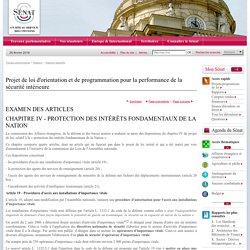 Projet de loi d'orientation et de programmation pour la performance de la sécurité intérieure