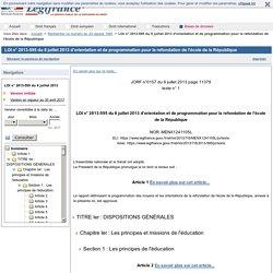 LOI n° 2013-595 du 8 juillet 2013 d'orientation et de programmation pour la refondation de l'école de la République