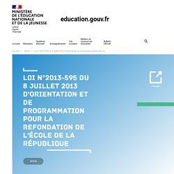 Loi n°2013-595 du 8 juillet 2013 d'orientation et de programmation pour la refondation de l'École de la République