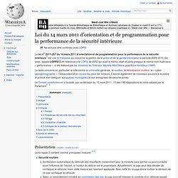Loi du 14 mars 2011 d'orientation et de programmation pour la performance de la sécurité intérieure
