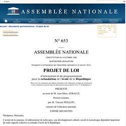 653 - Projet de loi d'orientation et de programmation pour la refondation de l'école de la République