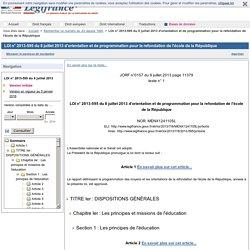 LOI du 8 juillet 2013 d'orientation et de programmation pour la refondation de l'école de la République