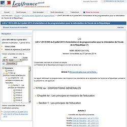 2013-595 du 8 juillet 2013 d'orientation et de programmation pour la refondation de l'école de la République