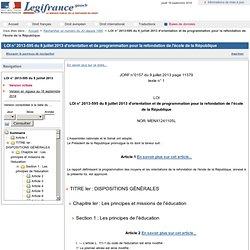 Loi d'orientation et de programmation pour la refondation de l'école de la République du 8 juillet 2013