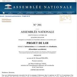 N°391 - Projet de loi relatif à l'orientation et à la réussite des étudiants