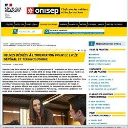 Heures dédiées à l'orientation pour le lycée général et technologique - Onisep
