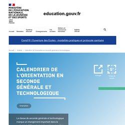 Calendrier de l'orientation en seconde générale et technologique