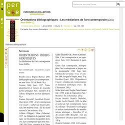 Orientations bibliographiques : Les médiations de l'art contemporain