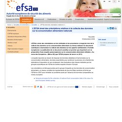 EFSA 18/12/09 L'EFSA émet des orientations relatives à la collecte des données sur la consommation alimentaire nationale