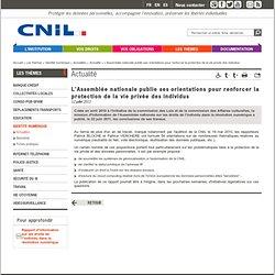 L'Assemblée nationale publie ses orientations pour renforcer la protection de la vie privée des individus
