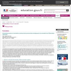 Orientations pour la formation continue des personnels enseignants du ministère de l'Éducation nationale - MENE1100119C