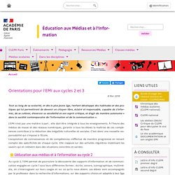 Orientations pour l'EMI aux cycles 2 et 3 - Clemi Paris