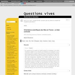Orientations scientifiques des filles en France: un bilan contrasté