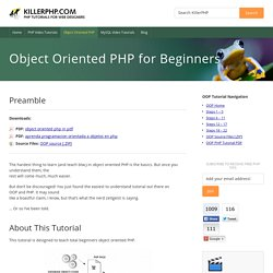 OBJECT ORIENTED PHP TUTORIAL FOR BEGINNERS