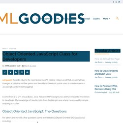 Object Oriented JavaScript Class for Developers - www.htmlgoodies.com