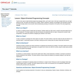 Lesson: Object-Oriented Programming Concepts (The Java™ Tutorials > Learning the Java Language)