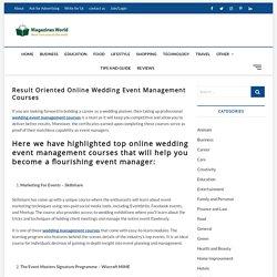 Result Oriented Online Wedding Event Management Course