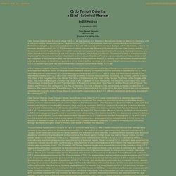 Ordo Templi Orientis History - Bill Heidrick