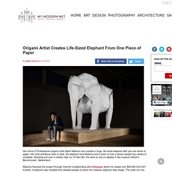 Origami Artist Creates Life-Sized Elephant From One Piece of Paper