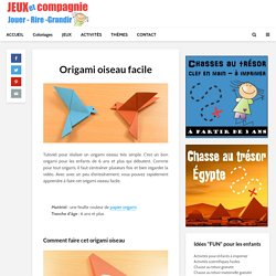 Origami oiseau facile