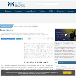 O que são fake news? Origem e perigos - Mundo Educação