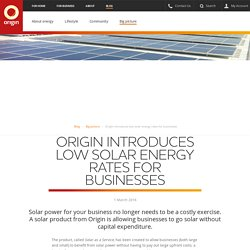 Origin Introduces Low Solar Energy Rates for Business - Origin Energy