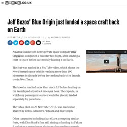 Blue Origin just landed a space craft back on Earth