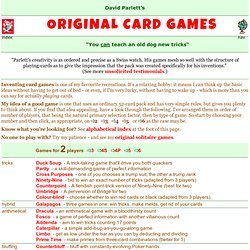 David Parlett: Original Card Games