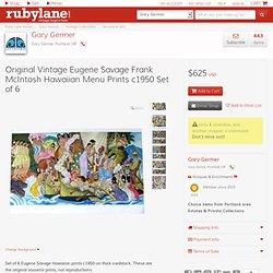 Original Vintage Eugene Savage Frank McIntosh Hawaiian Menu Prints from garygermer on Ruby Lane
