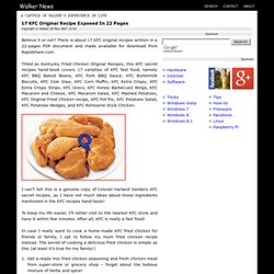 17 KFC Original Recipe Exposed In 22 Pages