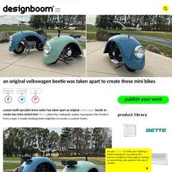 an original volkswagen beetle was taken apart to create these mini bikes