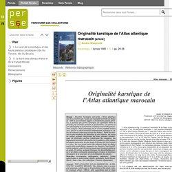 Originalité karstique de l'Atlas atlantique marocain