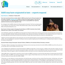 SCIENCEMEDIACENTRE_CO_NZ 31/10/13 SARS may have originated in bats – experts respond