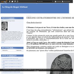 ORIGINE EXTRATERRESTRE DE L'HOMME